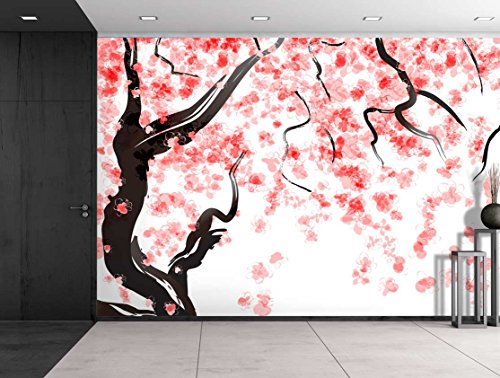 Large Wall Mural Japanese Cherry Tree Blossom in Watercolor Painting Style Vinyl Wallpaper Removable Decorating