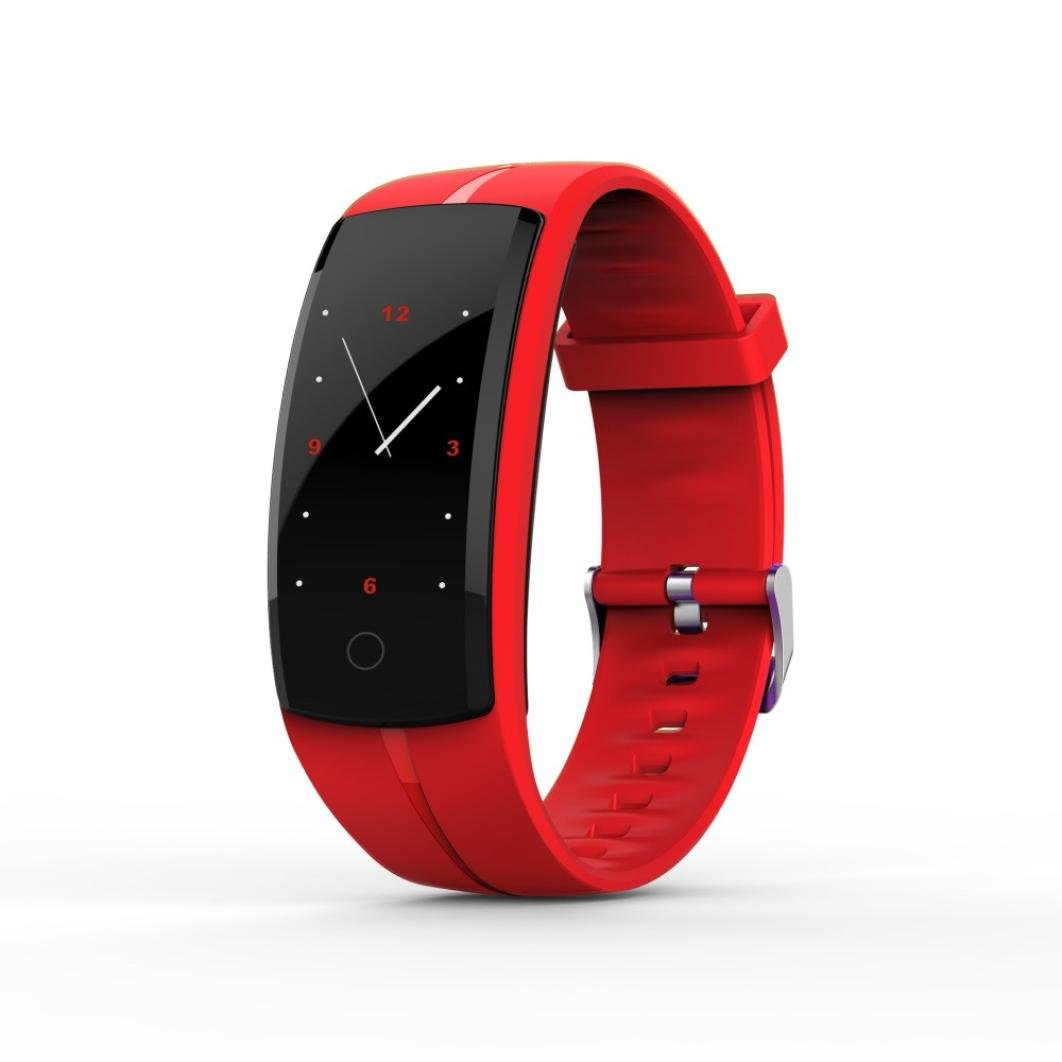 Ounice Smartwatch Fitness Tracker QS100 Calorie Blood Pressure Exercise Heart Rate Pedometer Smart Watch (Red)