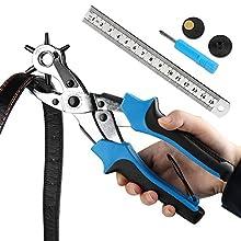Cinturón agujero perforadora, ballery profesional resistente alicate Sacabocados para piel 2.0 – 4,5 mm, azul