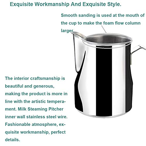 Frothing Pitcher Lengthen Mouth Handheld Milk Frothing Pitcher, 18/10 Stainless Steel 20oz/600ml Streamlined Milk Steaming Frothing Pitcher Body Suitable for Coffee, Latte Art And Frothing Milk Perfect for Espresso Machines by HENGRUI (Image #4)