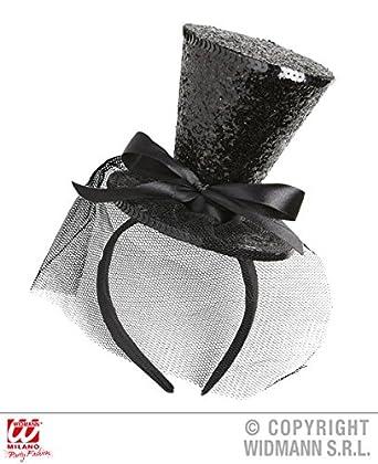 043b575e485e6 BLACK GLITTER MINI CLOWN TOP HAT (headband) SFX for Circus FunFair Parade  Cosmetics  Amazon.co.uk  Clothing