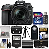 Nikon D7500 Wi-Fi 4K Digital SLR Camera & 16-80mm VR DX Lens with 32GB Card + Case + Flash + Battery + Tripod + 3 Filters + Remote Kit