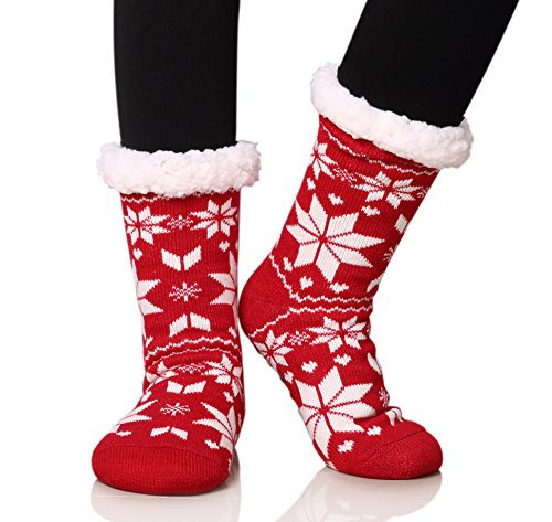 Dosoni Women's Fleece Lining Fuzzy Soft Christmas Knee Highs Stockings Slipper Socks (Snowflake Big Red)]()