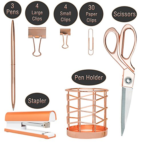 Rose Gold Desk Accessories | 7 Desktop Essentials (44 Items Total) | Office Supply Set & Organizer in Rose Gold Décor by Greenline Goods (Image #3)'