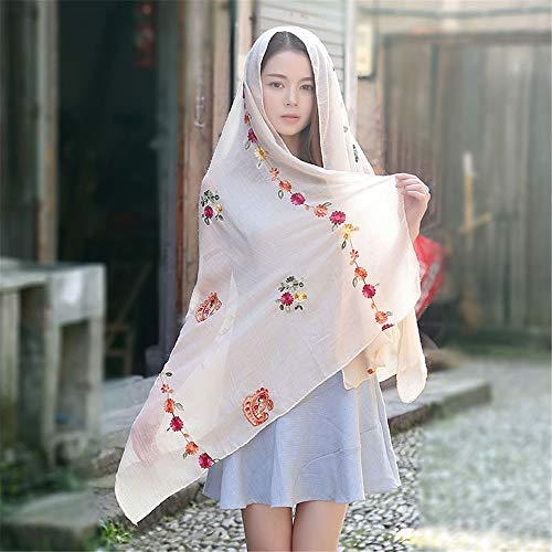 Ethnic Style Cashew Flower Cotton and Linen Scarf Sunscreen Shawl Vintage Embroidered Silk Scarf Female Shawl B 90x170Cm