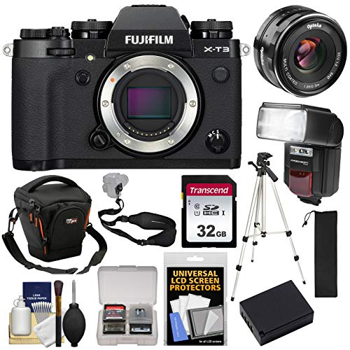 Fujifilm X-T3 4K Wi-Fi Digital Camera Body (Black) with 35mm f/1.7 Lens + 32GB Card + Battery + Case + Flash + Tripod +Kit