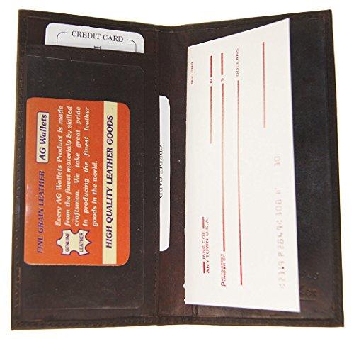 Dallas Cowboys Checkbook Cover (Men And Women Genuine Cowhide Leather Plain Checkbook Cover Brown Color)