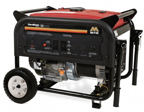 Mi-T-M GEN-6000-0MM0 Choremaster Generator with 389cc Mi-T-M OHV Engine, 6000W, Red/Black