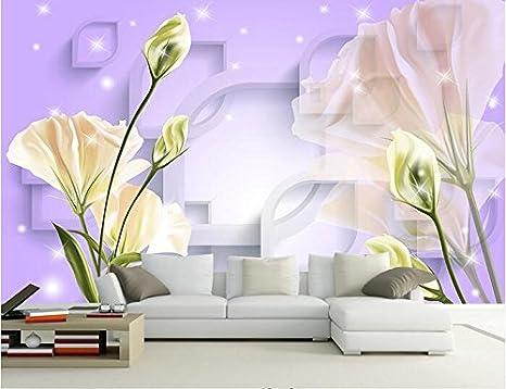 lwcx 3d wallpaper custom mural non woven 3d room wallpaper 3 d purple tulip background wall painting photo wallpaper for walls 3d d 250x175cm amazon com amazon com