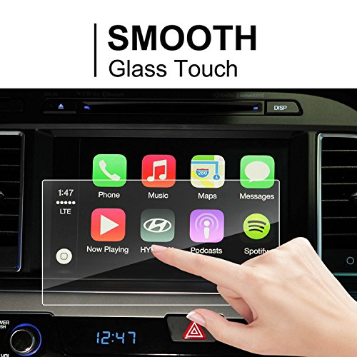 Price comparison product image LFOTPP Hyundai Santa Fe / Tucson /Azera / Elantra 2017 8-Inch Glass Car Navigation Screen Protector, [9H] Tempered Glass Center Touch Screen Protector Anti Scratch High Clarity