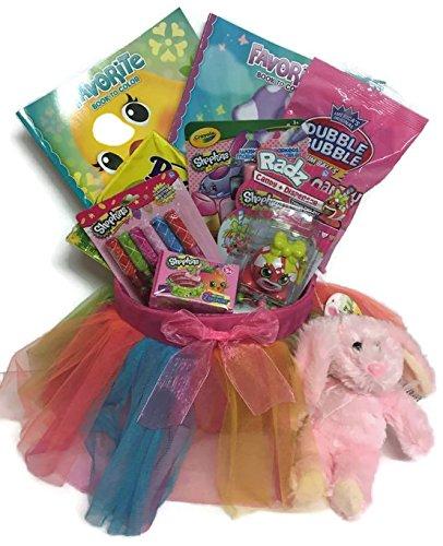 Girls Shopkins Peeps Colorful Ballerina TuTu Easter Basket Blind Basket Shopkins Stickers Shopkin Markers Shopkin Lipgloss Coloring Book Plush (Cotton Candy Ballerina)