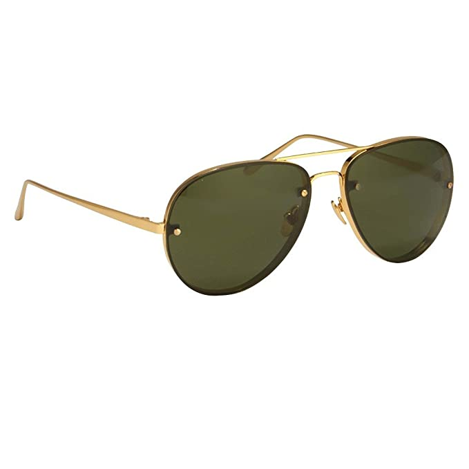 478b4252603b Linda Farrow LFL 307 Sunglasses C5 Yellow Gold Frame   Green Lens  Linda  Farrow  Amazon.ca  Clothing   Accessories