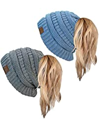 Ponytail Messy Bun BeanieTail Women's Beanie Solid Ribbed Hat Cap