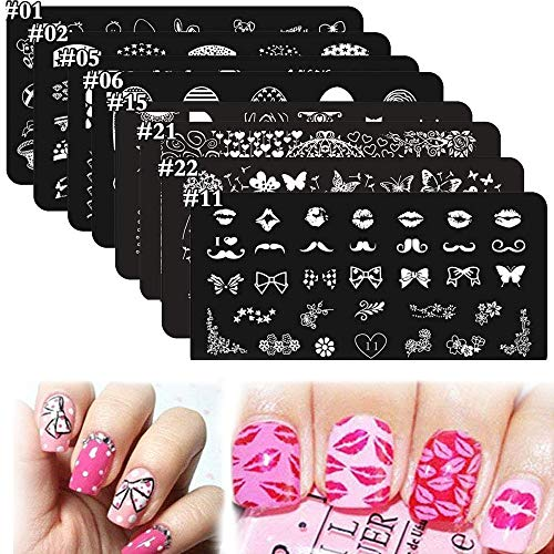 8Pcs Nail Stamping Kits Stamping Plates Stamper Scraper Set - DAODER Cute Sweet Heart Kiss Nails Love Animals Flower Nail Print Pattern Stainless Steel Manicure Plates + 1 Polish Stamper Scraper