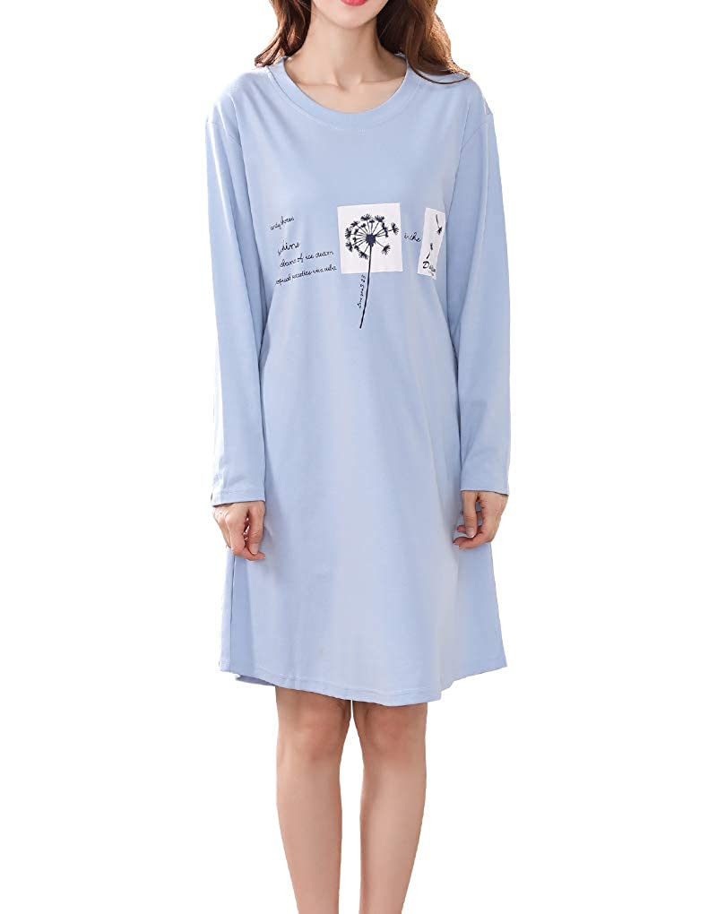 Vopmocld Big Girls Long Sleeve Nightclothes Dandelion Letters Print Nightgown Dress