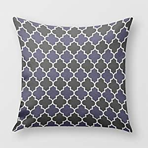 Black And Textured Navy Blue Quatrefoil Decorative Throw Pillow Cover for Sofa or Bedrooms