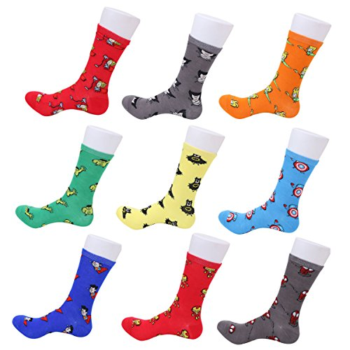 Unisex Adult Teen Cartoon Character Fun Design Cotton - Superhero Socks Men