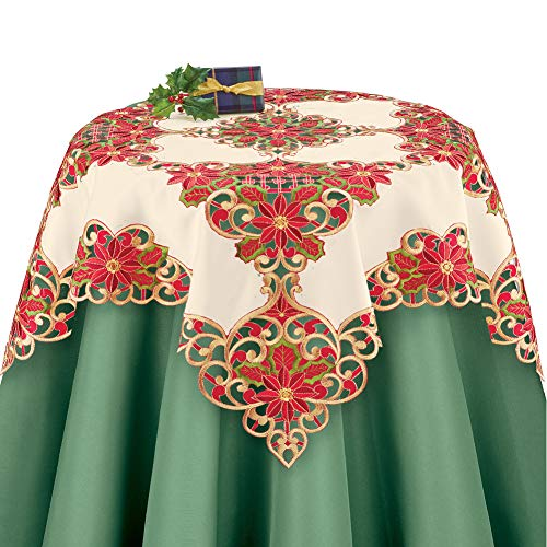Collections Etc Christmas Poinsettia Table Runner/Topper Linens,