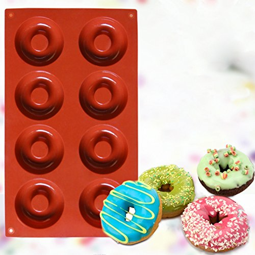 Ozera 8 Cavity Silicone Donut Pan (2 Pack), Muffin Cups, Cake Baking Ring, Biscuit Mold