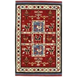 Traditions Tribal Rug, 4-Feet by 6-Feet, Red