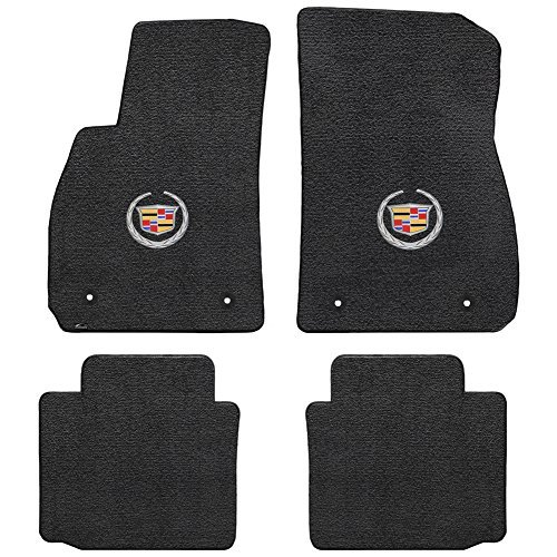 Logo Black Car Mat - 2013-2016 Cadillac XTS 4pc Black Velourtex Floor Mats - Crest & Wreath Logo