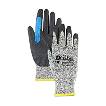 """Glove & Safety GPD530RT-10 D-ROC GPD530RT Polyurethane Palm Coated Work Glove with Reinforced Thumb Saddle, Cut Level A2, 10"""", Salt/Pepper (Pack of 12)"""