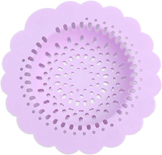zhenglijuan785 Filtre rond /évier en silicone Bouchon deau Drain de plancher Drain Attrape-cheveux Violet