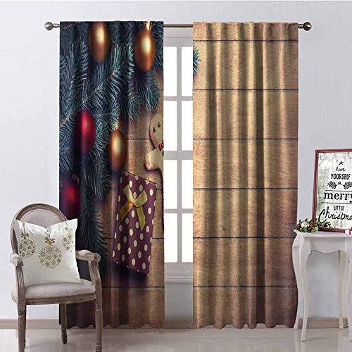 (GloriaJohnson Gingerbread Man Heat Insulation Curtain Pine Branches Delicious Cookie and Present on Wood Planks for Living Room or Bedroom W52 x L63 Inch Light Brown Hunter Green Red)