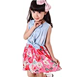 Covermason Baby Girls Toddler Kids Denim Splice Bowknot Floral Print Sleeveless Princess Party Dresses (4-5Y, Red)