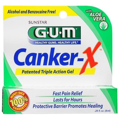 GUM Chancre X, Force maximale Chancre & Mouth Sore Pain Relief Gel 0,28 onces liquides (8 ml)