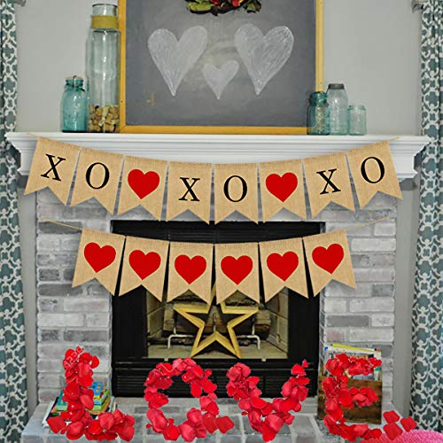 Valentine's Day Love Banner Decoration Kit - XOXOXO Heart Burlap Bunting Garland Props, Love Signs for Wedding Decor Engagement Bridal Baby Shower Birthday Party with Wine Red Artificial Rose Petals