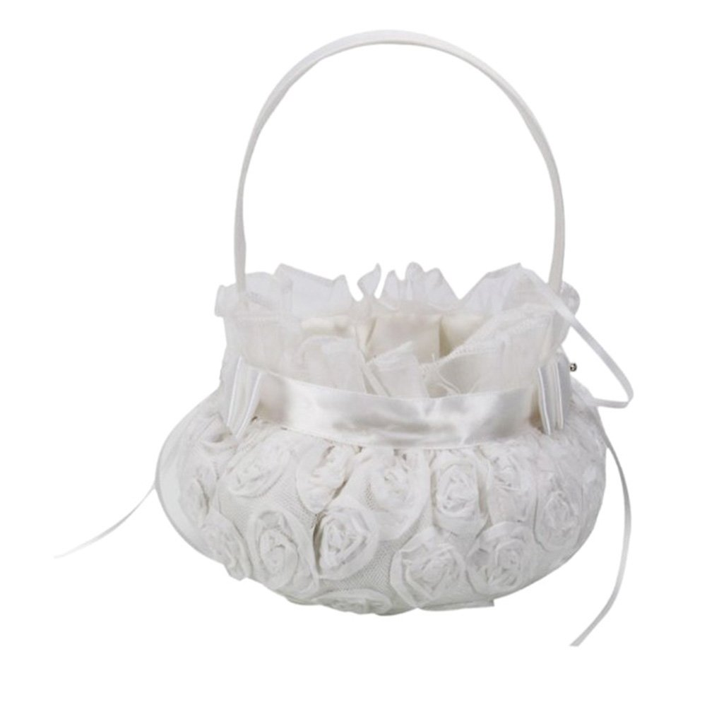 chendongdong Wedding Ceremony Party Love Case Satin Bowknot & Rose Flower Girl Basket