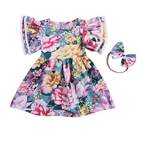 Lurryly (Multicolor, 2-3 Years,Label Size:110) Baby Party Dress, Baby Girl Spring Dress, Little Girl Dresses Easter, Silver Flower Girl Dress, Girl Dress Shoes Size 1 ()