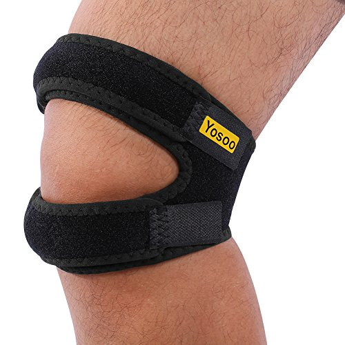 Yosoo Patella Knee Strap Adjustable Neoprene Infrapatellar Strap Band Brace for Knee Support Fits Running, Basketball, Outdoor Sports Help with Jumpers and Runners Knee, 11'' - 16'', Black