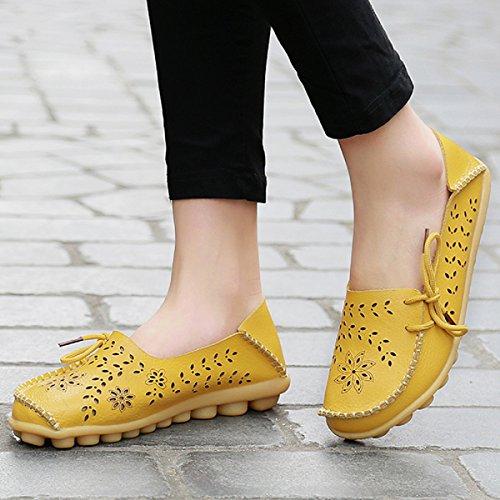 Flats Comode 34 Scarpe On In Donna Guida Da Pelle Zeppa Loafers Moda Estivi Mocassini Slip Shoes Giallo 44 YIqHR