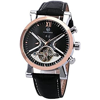 FORSINING Luxury Business Tourbillon Mechanical Watch Leather Strap Automatic Rose Gold Skeleton Case + BOX