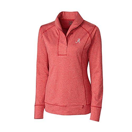 (Cutter & Buck NCAA Alabama Crimson Tide Women's Shoreline Half Zip Shirt, 3X-Large, Cardinal Red Heather)