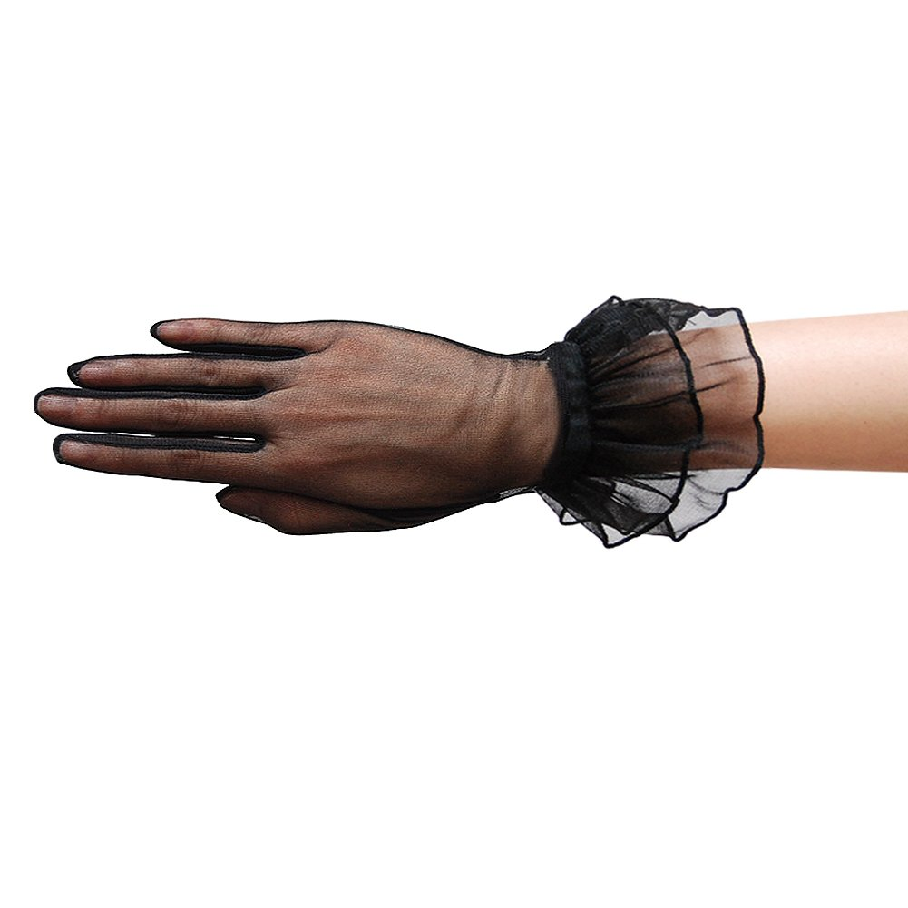 ZaZa Bridal Gorgeous Sheer Gloves with Double Ruffle Tricot Slip-on Wrist Length 2BL-Black