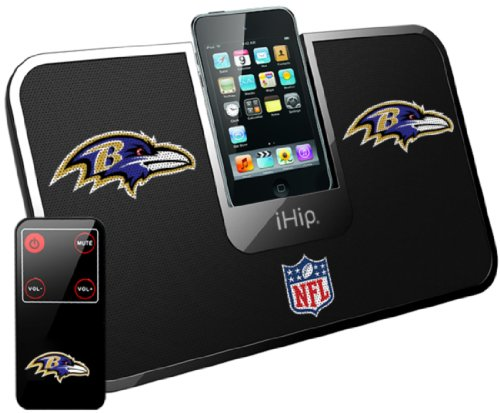 iHip Official NFL - BALTIMORE RAVENS - Portable iDock Stereo Speaker with Wireless Remote NFV5000BAR