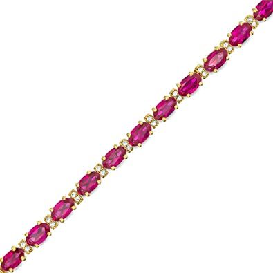 Sterling Silver Gold Plated Ruby and Diamond Tennis Bracelet