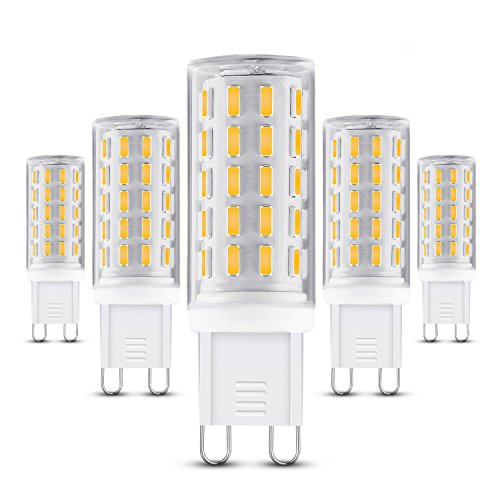 G9 Led Bulb, 5W G9 Base Led Bulb, 50W Equivalent, Warm White (3000K), 5 Pack
