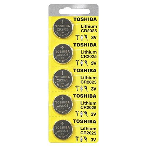 Toshiba CR2025 3 Volt Lithium Coin Battery (5 Batteries)