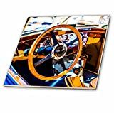 3dRose Alexis Photography - Transport Road - Decorative steering wheel and a compartment of a vintage luxury car - 4 Inch Ceramic Tile (ct_271951_1)