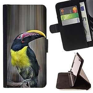 BullDog Case - FOR/Sony Xperia M2 / - / tucan bird yellow ornithology species /- Monedero de cuero de la PU Llevar cubierta de la caja con el ID Credit Card Slots Flip funda de cuer