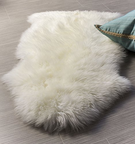 Fur Pelt (Super Area Rugs, Genuine Australian Sheepskin Rug One Pelt Ivory Natural Fur, Single 2X3)