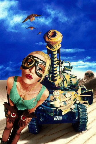 Lori Petty Tank Girl Art Green Vest Shorts Goggles 24x36 - Girl Images For Goggles