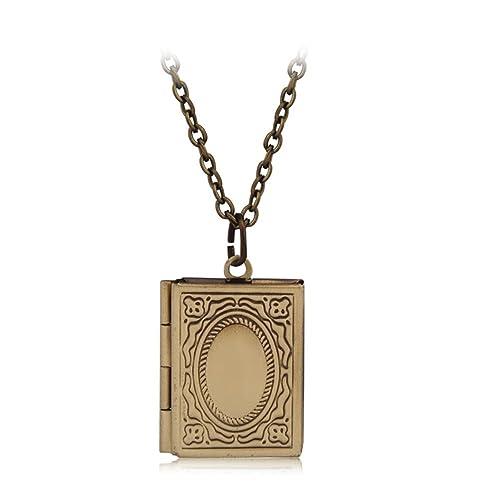 Fajewellery Vintage Medallon Colgante Guardapelo Oval con Flores Grabadas para Dos Fotos Cadena Larga Collar para Mujer: Amazon.es: Joyería