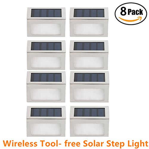 [Rucksack of 8] HowFine Outdoor Stainless Steel LED Solar Step Light Wireless Super Bright Modern White Lamp for Deck, Staircase, Walkway, Patio, Garden, Yard, Patio