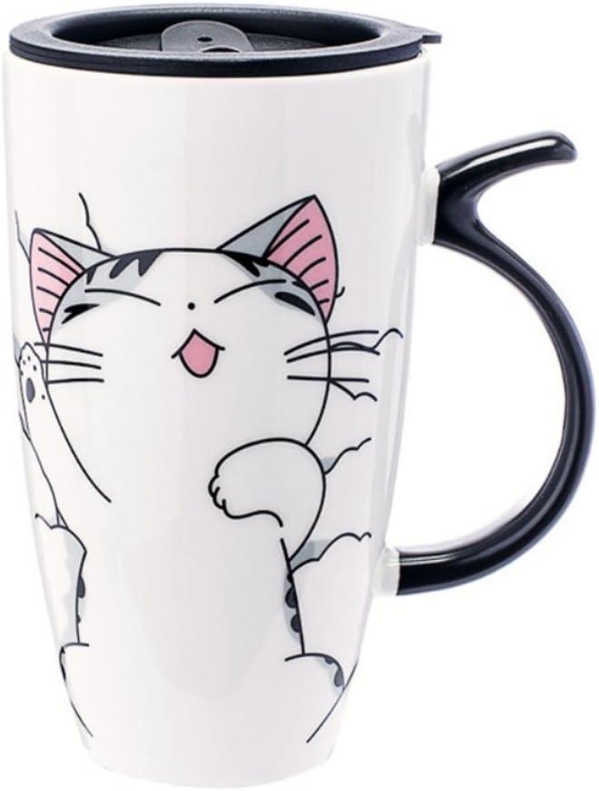 Creative Cat Ceramic Cup Water Mug Tea Coffee Milk Cup With Wood Lid/&Spoon Gifts