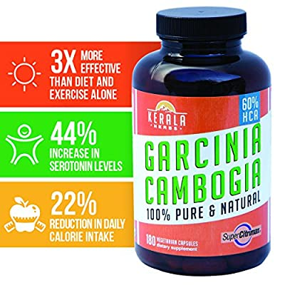 PREMIUM GRADE GARCINIA CAMBOGIA with Super CitriMax by Kerala Herbs for MAXIMUM WEIGHT LOSS at SAFE LEVELS. Natural - 500mg - 180 Capsules